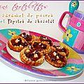 Mini tartelettes au caramel de poires et pépites de chocolat