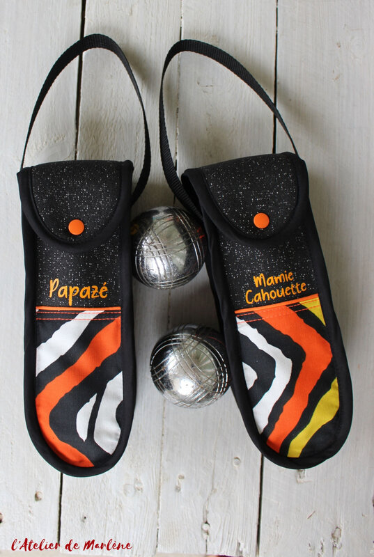 étui pétanque triplette orange