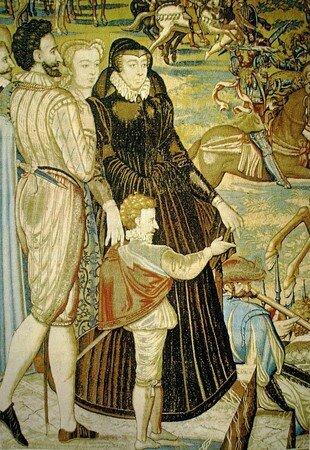 Henri de Navarre, Catherine de Médicis et Marguerite de Valois, extrait de la tapisserie des Valois