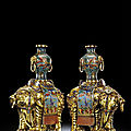 A pair of cloisonné and gilt-bronze caparisoned elephants, qing dynasty, 18th century