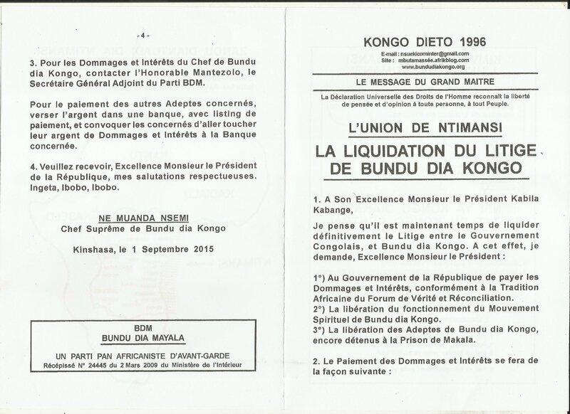 LA LIQUIDATION DU LITIGE DE BUNDU DIA KONGO a