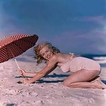 1949_tobey_beach_by_dedienes_umbrella_red_072_1
