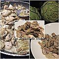 Artichauts et champignons sautés au poulet