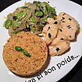 Aiguillettes de dinde sauce poulette, poireaux aux fèves et sarrasin gourmand