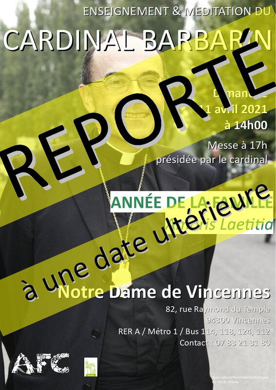 REPORT DE LA VENUE DU CARDINAL BARBARIN