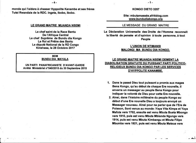 LE GRAND MAITRE MUANDA NSEMI DEMENT LA DIABOLISATION GRATUITE DU PUISSANT PARTI POLITICO RELLIGIEUX BUNDU DIA KONGO a