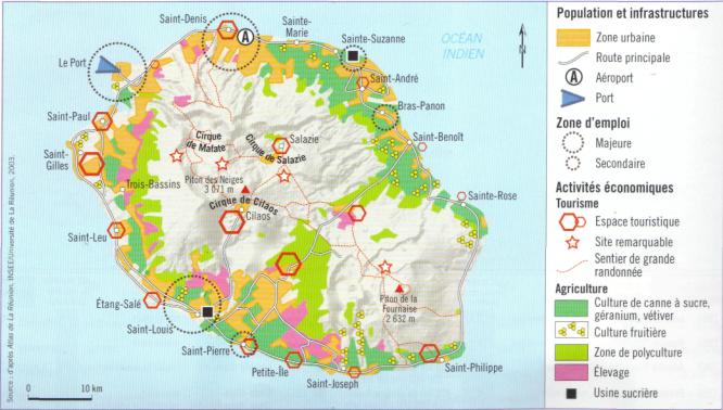 Population et activités économiques à la Réunion