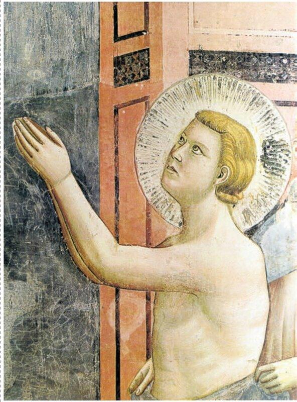 Basilica sup Assisi Giotto, «La rinuncia agli averi», part