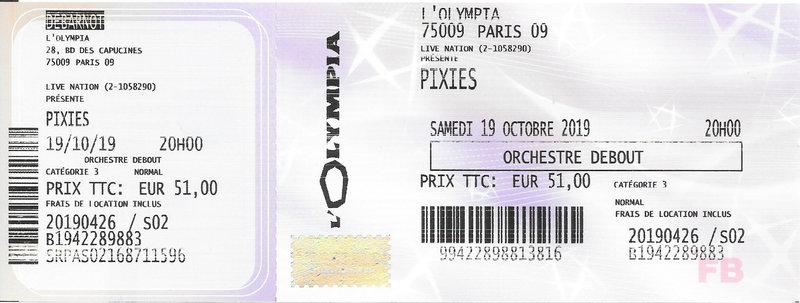 2019 10 19 Pixies Olympia Billet