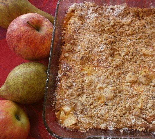 clafoutis pommes poires, streusel noisettes (2)