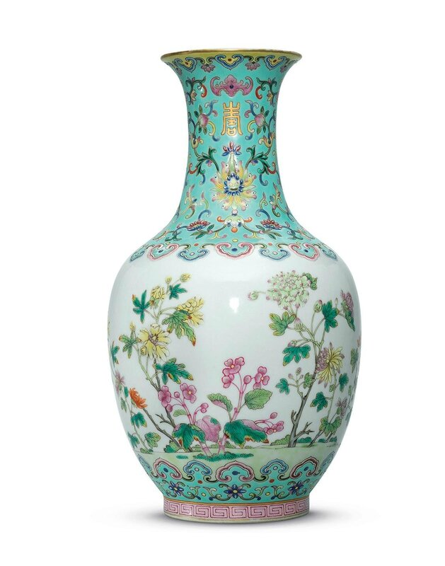 A finely enamelled famille rose turquoise-ground vase, Daoguang six-character seal mark in iron red and of the period (1821-1850)