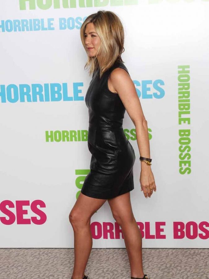 Jennifer Aniston leather minidress 180