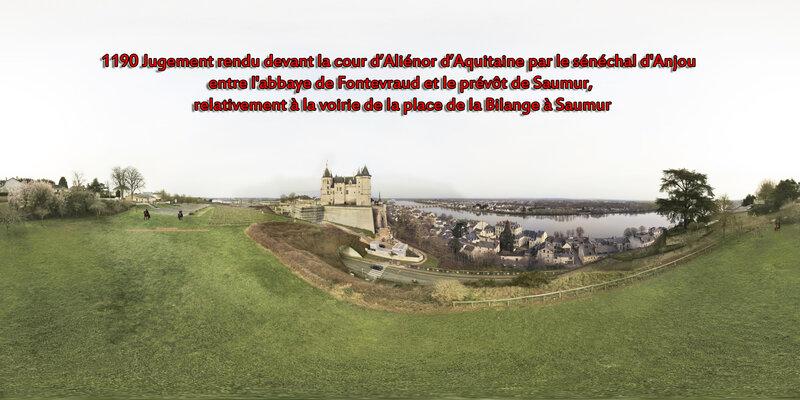 1190 Jugement rendu devant la cour d'Aliénor d'Aquitaine par le sénéchal d'Anjou entre l'abbaye de Fontevraud et le prévôt de Saumur, relativement à la voirie de la place de la Bilange à Saumur