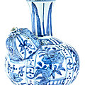 A chinese kraak blue and white porcelain kendi, late ming dynasty (1368-1644)