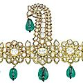 An 18th century indian emerald and diamond sarpech, deccan, late 18th-early 19th century