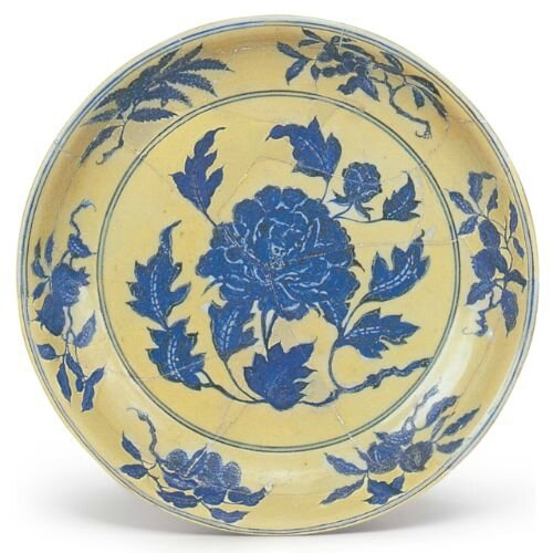 A large yellow-ground blue and white 'peony' dish, Xuande mark and period