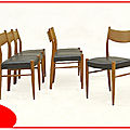 6 chaises scandinaves en teck blond 1960