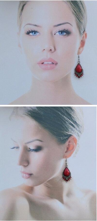 Boucles D'oreilles Style Tibétain Tashi Perle Strass Couleur Rouge Argent du Tibet