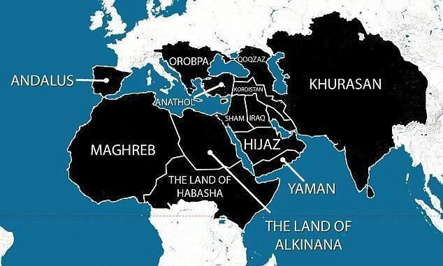 """In 2014 ISIS released this map of their """"Five years plan"""""""