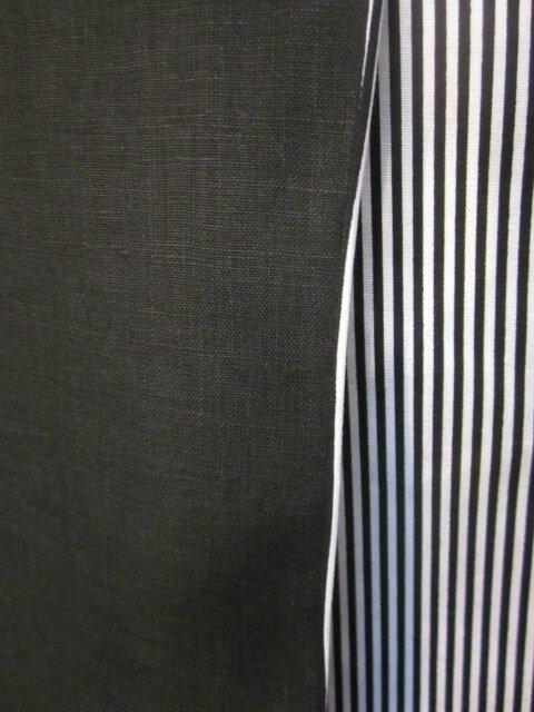 Robe ODETTE en lin noir et coton noir rayé blanc - Taille 42 (8)