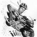 Caricature honda cbr et mariage de motards
