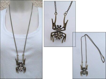 Pendentif Style Vintage Araignée Strass Crystal Métal Couleur Bronze