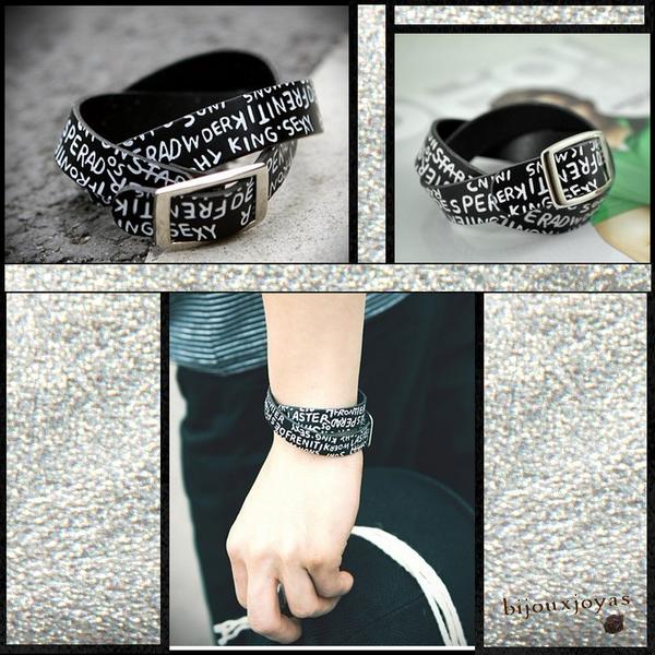 Bracelet Double Tour Style Punk Simili Cuir Noir Inscriptions Blanches