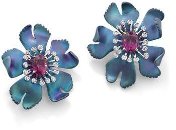 A_pair_of_titanium__rubellite_tourmaline_and_diamond_flower_earclips__by_Margherita_Burgener