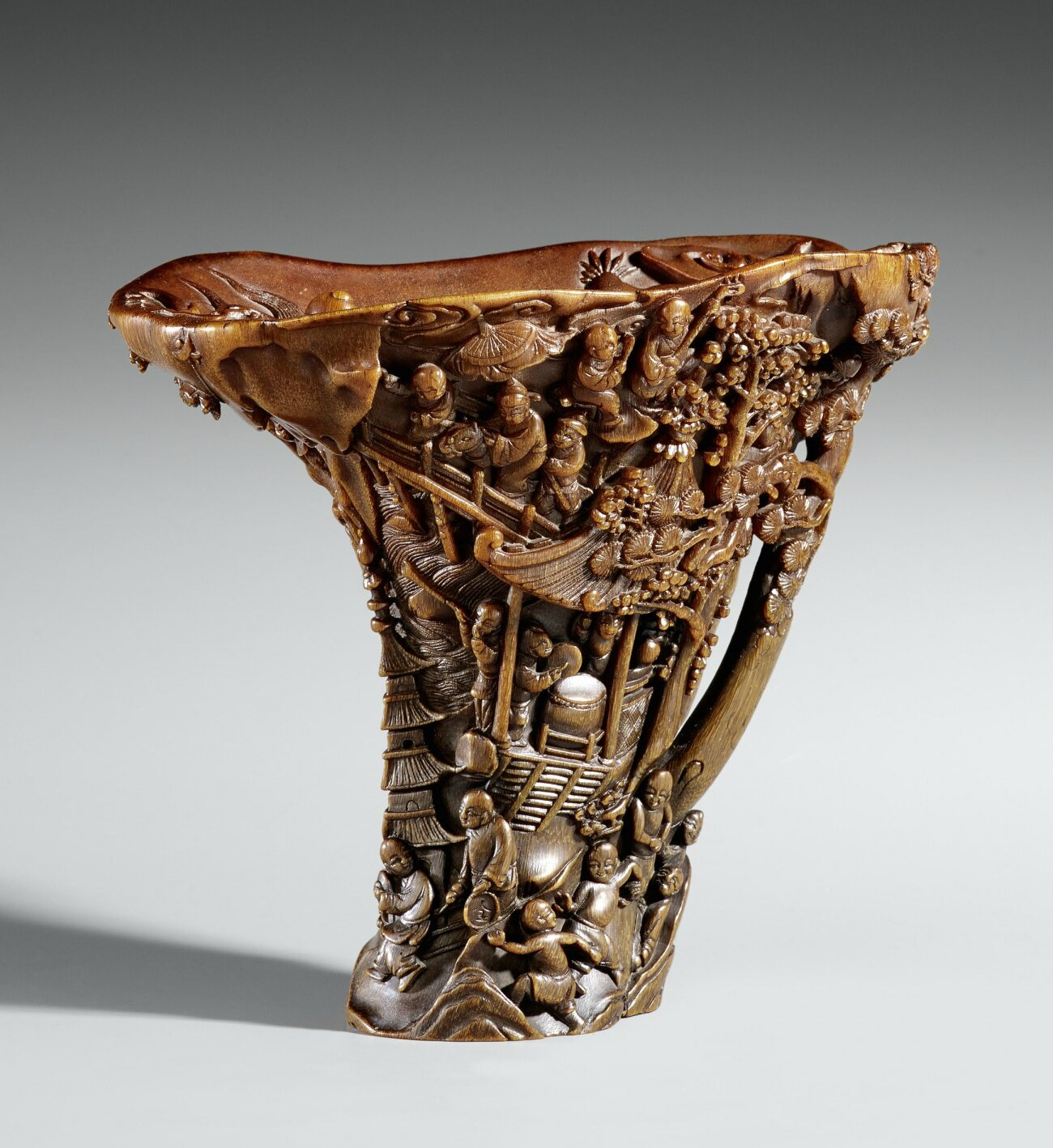 A large rhinoceros horn cup