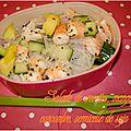 Salade de crevettes, mangue, concombre et vermicelle de soja