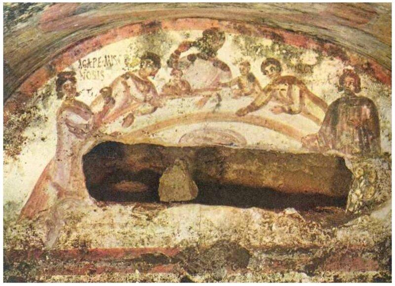 banquet dans les catacombes de sts Marcellin et Pierre, Rome