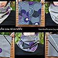 cache cou réversible gris violet