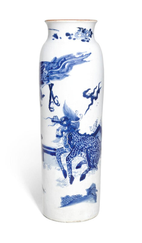 A blue and white sleeve vase, Transitional period