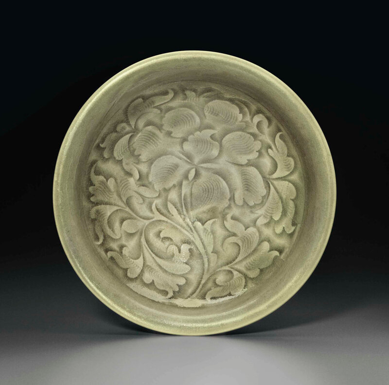 A Yaozhou celadon carved dish, Northern Song Dynasty (AD 960-1127)