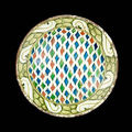 An iznik pottery dish with repeated lozenges. turkey, 17th century