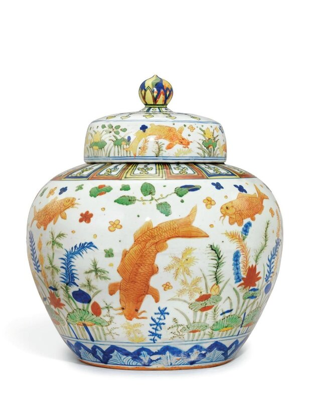 A highly important and extremely rarewucai'Fish' jar and cover,Jiajing six-character mark in underglaze blue and of the period (1522-1566)