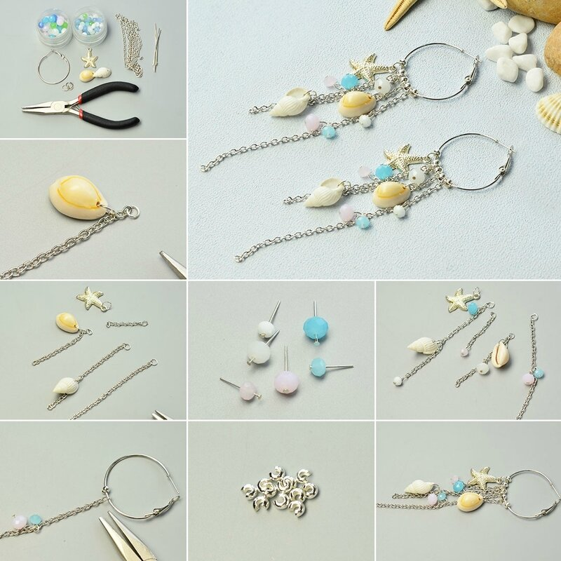 Beginners'-Project-–-How-to-Make-Ocean-Style-Tassel-Hoop-Earrings-in-Few-Minutes