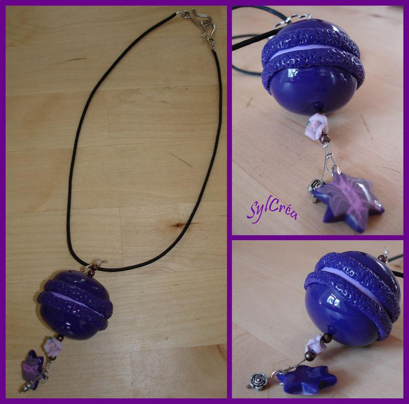 Collier macaron violet