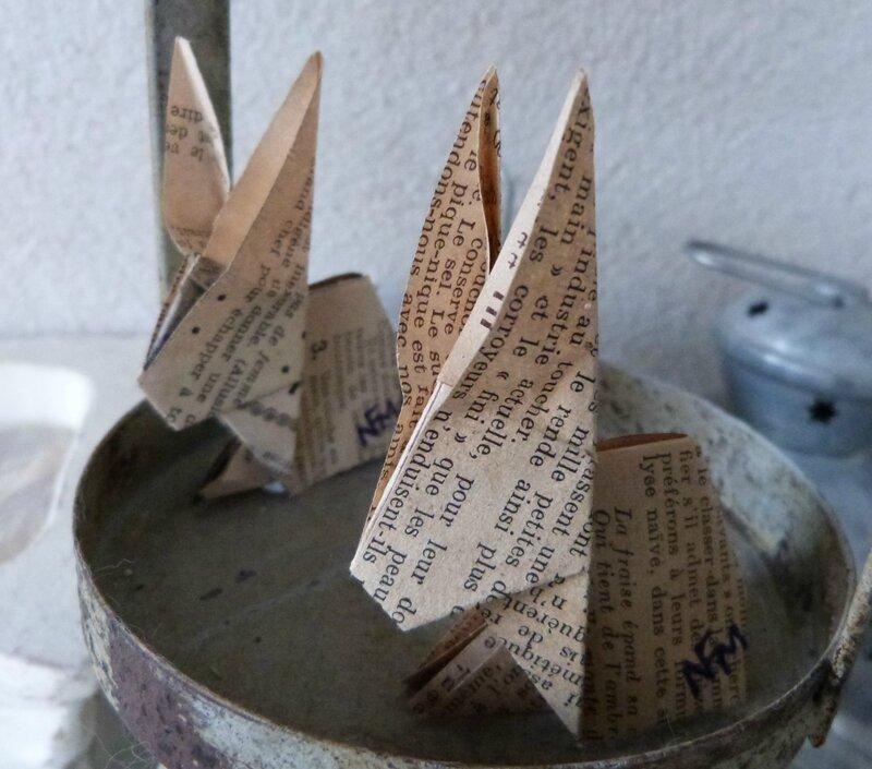 Lapin origami papier ancien (50)