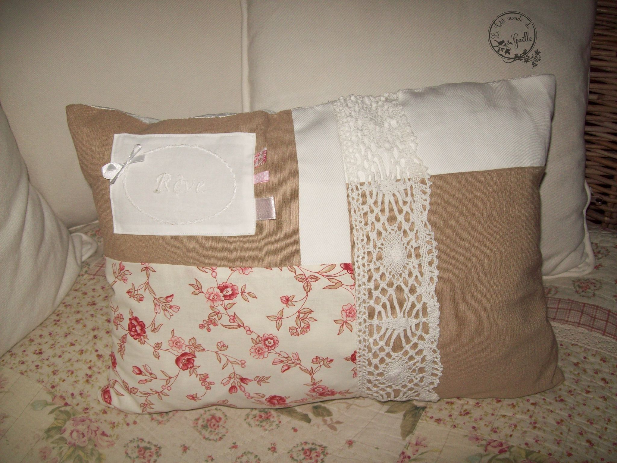 Coussin Shabby Patchwork Rêve...