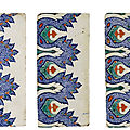 Three iznik polychrome pottery border tiles, turkey, 1575-85