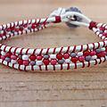 Bracelet wrap rocailles mauve-rose-rouge-blanc