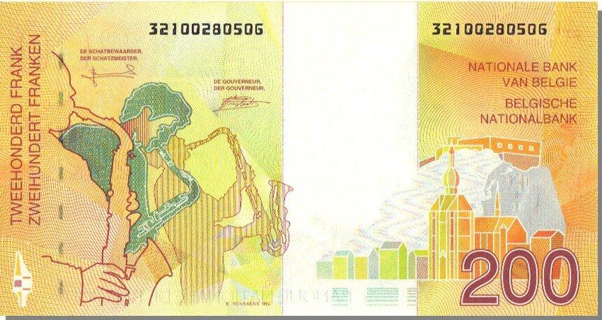 1995 200-francs verso Le Saxo - La Citadelle & la Collegiale Notre Dame de Dinant - Au pied la Meuse.