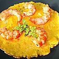 Omelette au coriandre et gambas