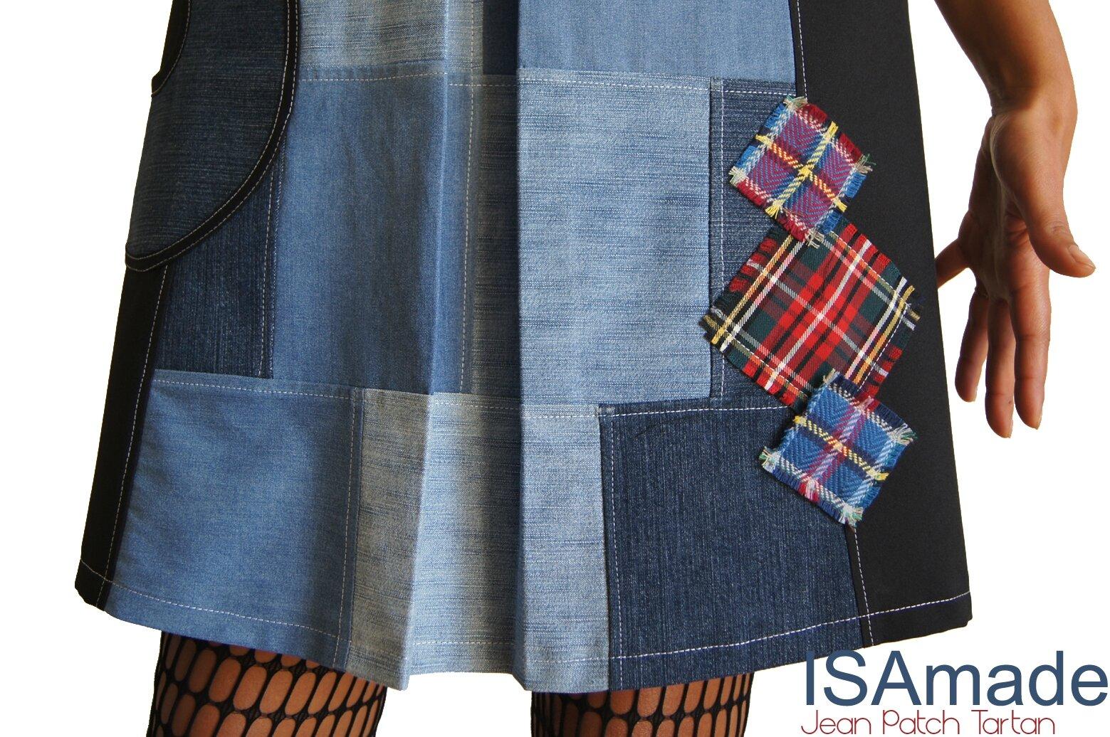 Robe Noire trapèze à Patch de Jean délavé/ brut Tendance Automne Hiver 2014 2015 Géométrique à découpes Graphiques