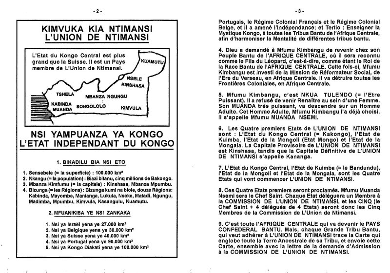 LES QUATRE PREMIERS ETATS DE L'UNION DE NTIMANSI b
