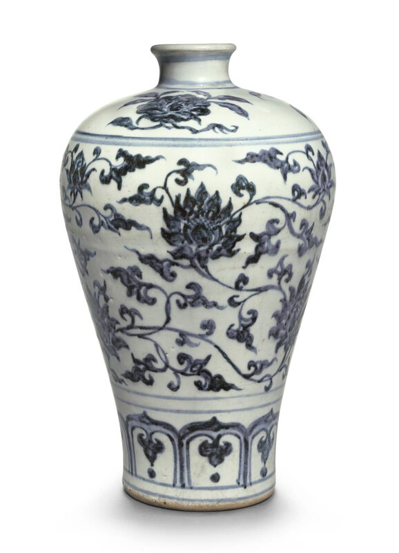 A blue and white 'Lotus' meiping, Ming dynasty, 15th-16th century