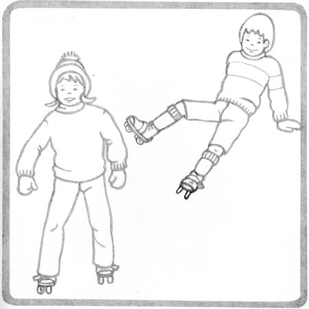 pere_castor_lucile_butel_roller_skate_patins___roulette_coloriage_coloring_book