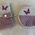 porte monnaie et porte carte violet étoile papillons