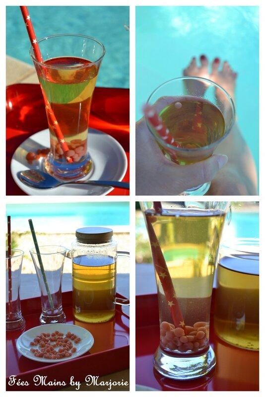Thé vert glacé aux billes de fraises